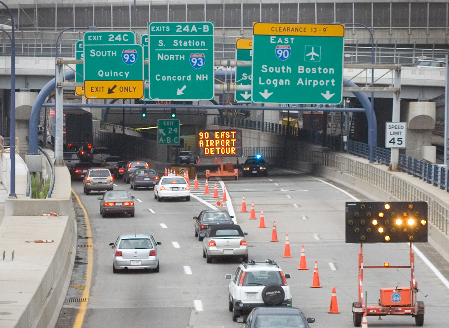 Boston traffic re routed Ted Williams tunnel 2006